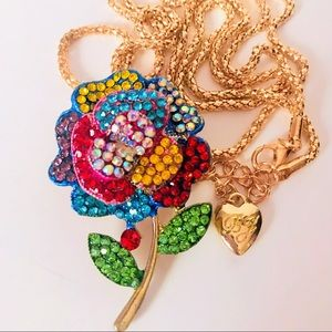 NEW! COLORFUL CRYSTAL ROSE SWEATER NECKLACE-GOLD